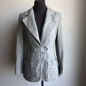 Saks Fifth Ave sz M Vintage 100% wool  gray blazer